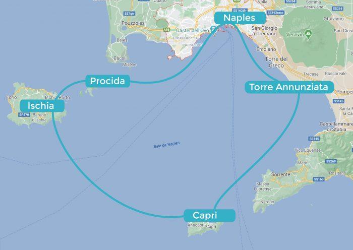 Itinerario in barca nel Golfo di Napoli creato con Navily