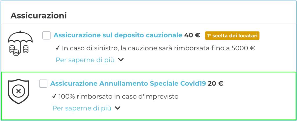 """Cliccare su """"Assicurazione Annullamento Speciale Covid19"""" in fase di pagamento per attivare l'assicurazione"""